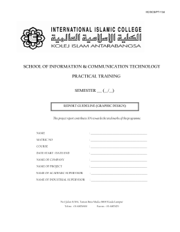 FORMAT FOR INDUSTRIAL TRAINING REPORT