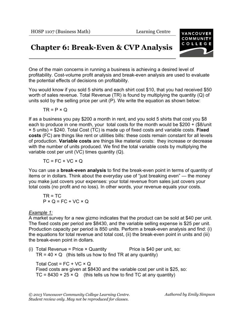 Break-Even & CVP Analysis - VCC Library
