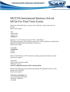 MGT520 International Business Solved MCQs For Final Term Exams
