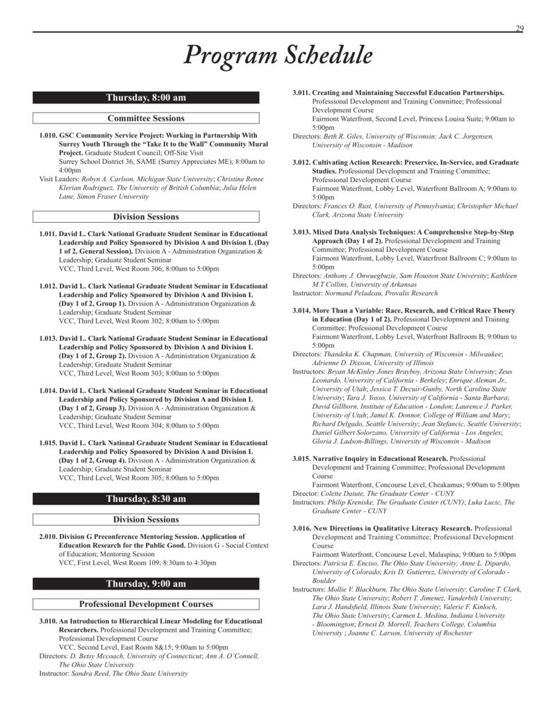 Annual Meeting Pogram Schedule