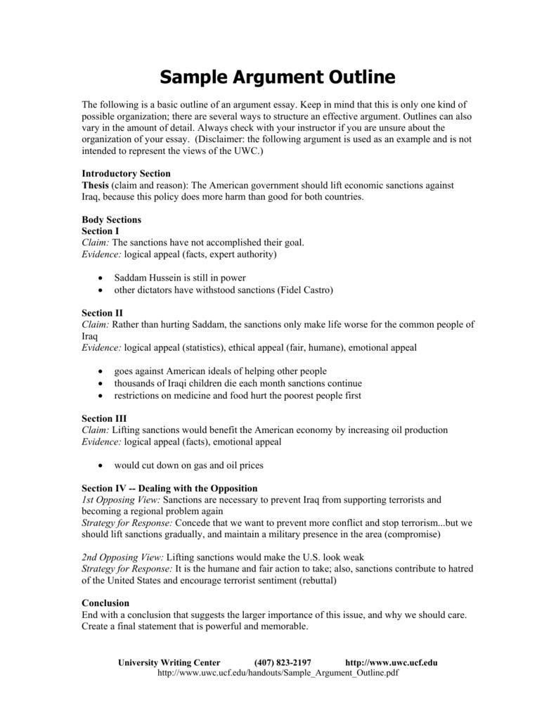 Sample Outline For Argumentative Essay Writing Ideas – Essay Outline Example