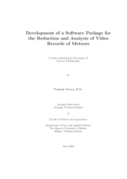 Development of a Software Package for the Reduction and Analysis