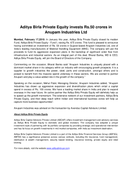 Aditya Birla Private Equity invests Rs.50 crores in Anupam Industries