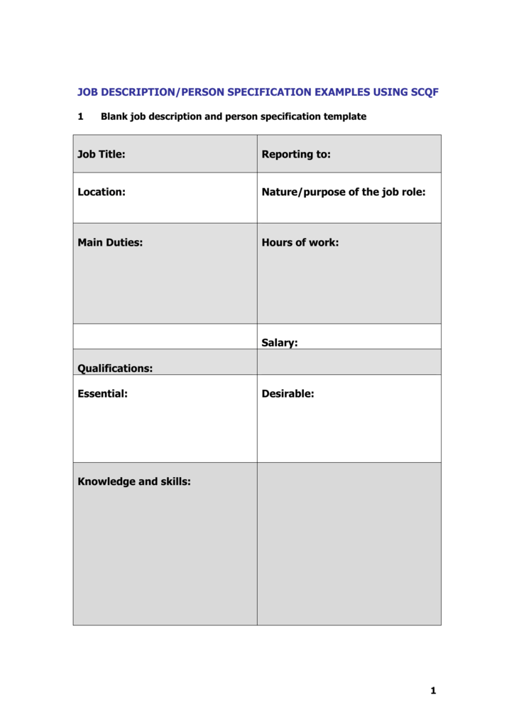 job description and person specification template Person specification [31kb] - a breakdown of the attributes the employer is looking for and whether they should be essential or desirable job application forms job application form - option 1 [15kb] - a form covering the basics.