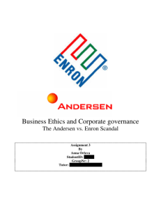 Business Ethics and Corporate governance