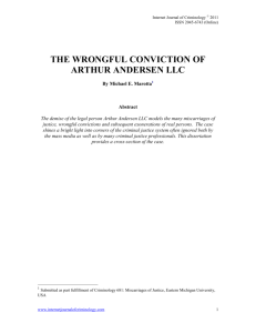 The Wrongful Conviction of Arthur Andersen LLC