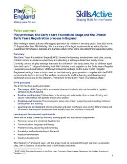 Policy summary: Play provision, the Early Years Foundation Stage