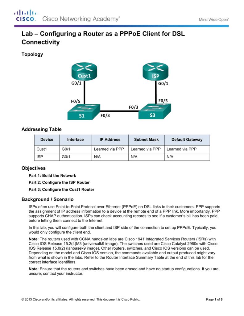 Lab – Configuring a Router as a PPPoE Client for DSL
