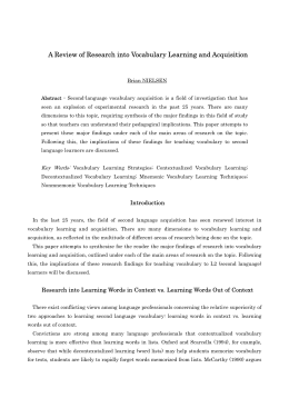 A Review of Research into Vocabulary Learning and Acquisition