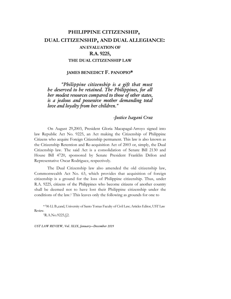philippine citizenship, dual citizenship, and dual