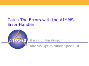Catch The Errors with the AIMMS Error Handler Haraldur