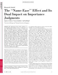 The ''Name-Ease'' Effect and Its Dual Impact on Importance Judgments