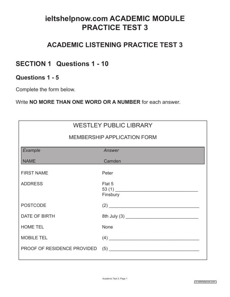Ielts Listening Practice Test With Answers Free Download