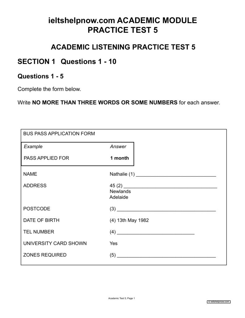 ieltshelpnow com ACADEMIC MODULE PRACTICE TEST 5