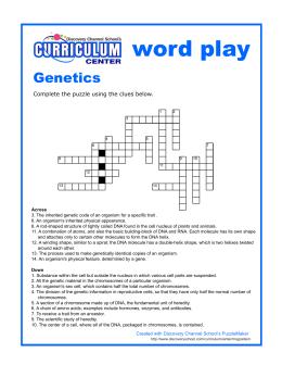 Modern genetics crossword puzzle name across 1 the passing of crossword malvernweather Choice Image