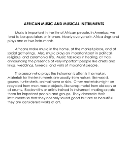 AFRICAN MUSIC AND MUSICAL INSTRUMENTS