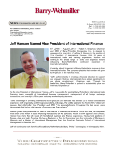 Jeff Hanson Named Vice President of - Barry
