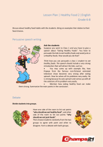 Lesson Plan | Healthy Food 2 |English Grade 6-8