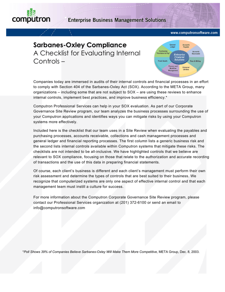 Sarbanes-Oxley Compliance A Checklist for Evaluating Internal