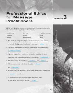 Professional Ethics for Massage Practitioners