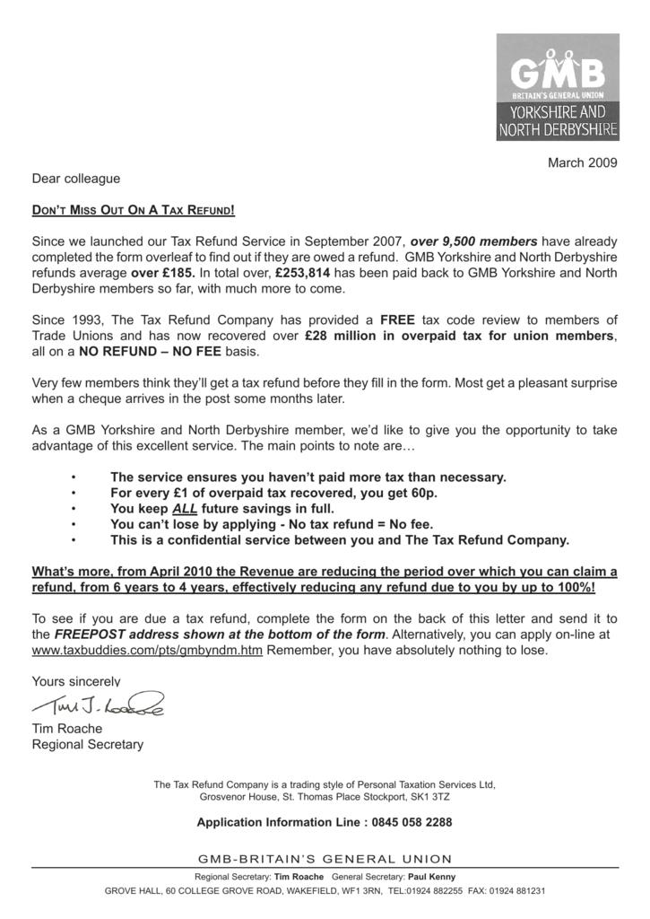 Tax Refund Claim Form