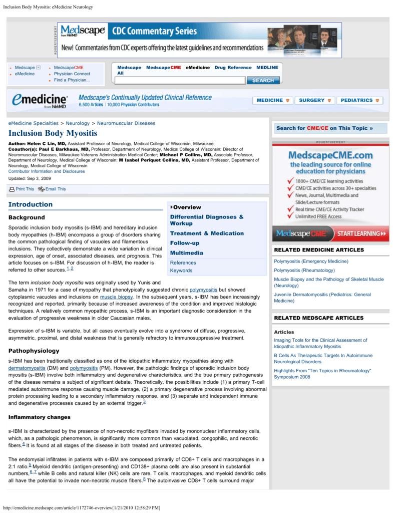 Inclusion Body Myositis: eMedicine Neurology