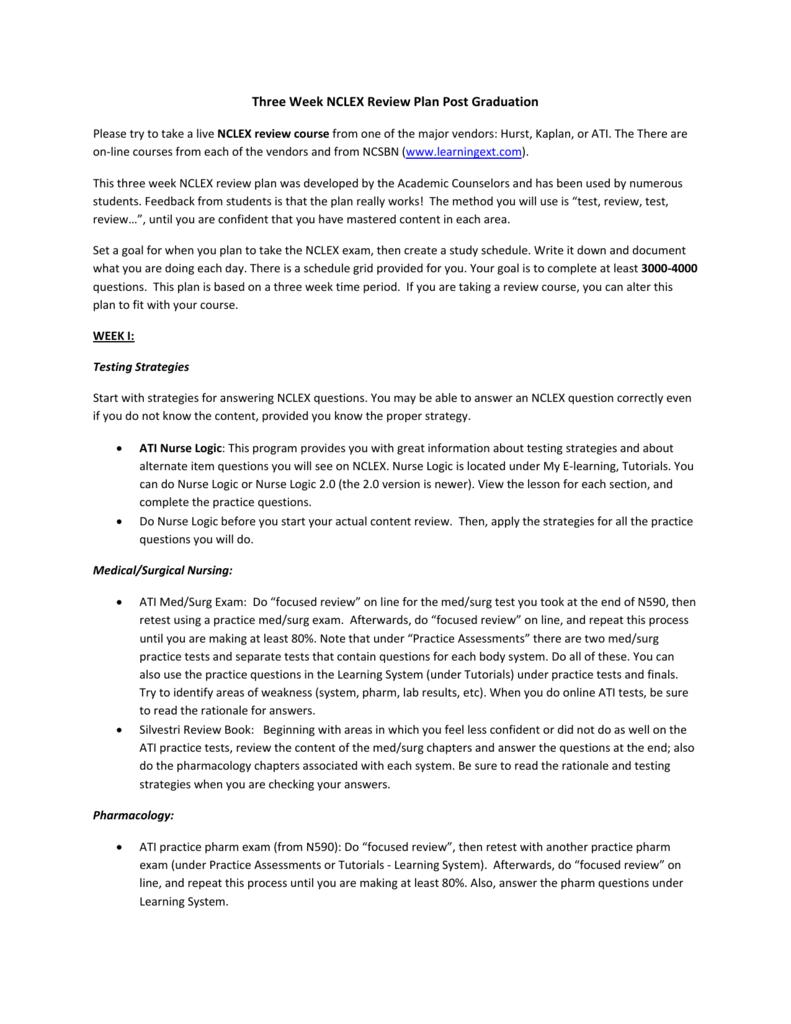 Three Week NCLEX Review Plan Post Graduation