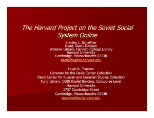 The Harvard Project on the Soviet Social System Online y