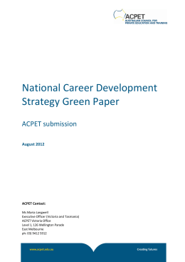 National Career Development Strategy Green Paper