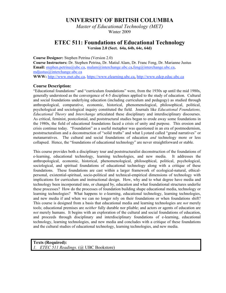 etec 511 scholarly essay