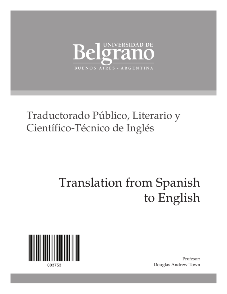 Translation from Spanish to English