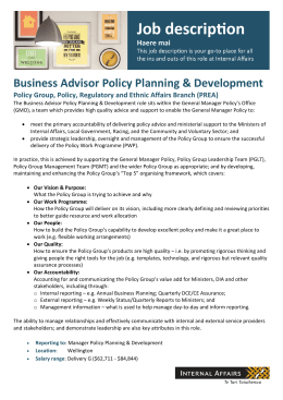 Business Advisor Policy Planning & Development Policy Group