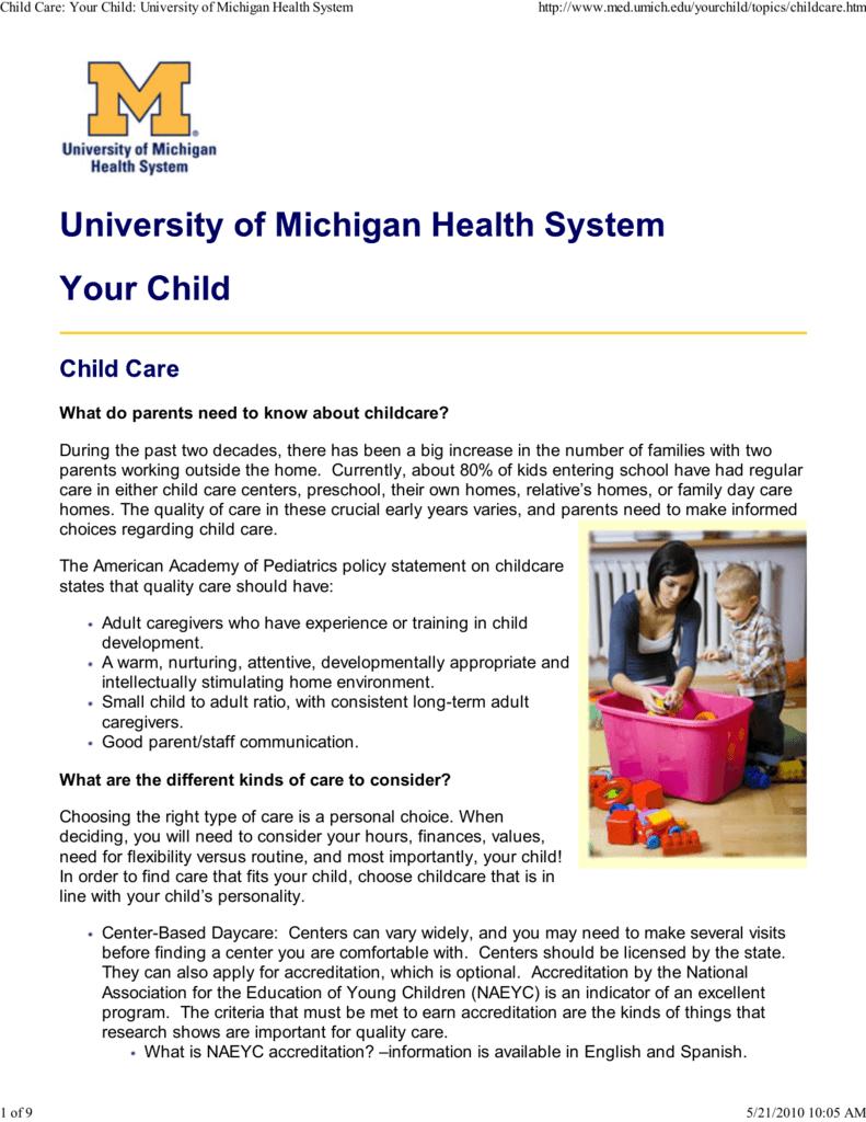 childcare topics