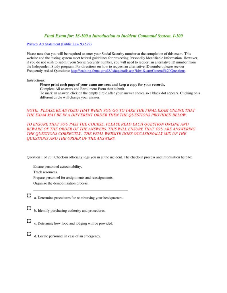 By Photo Congress || Fema Ics 200 C Final Exam Answers