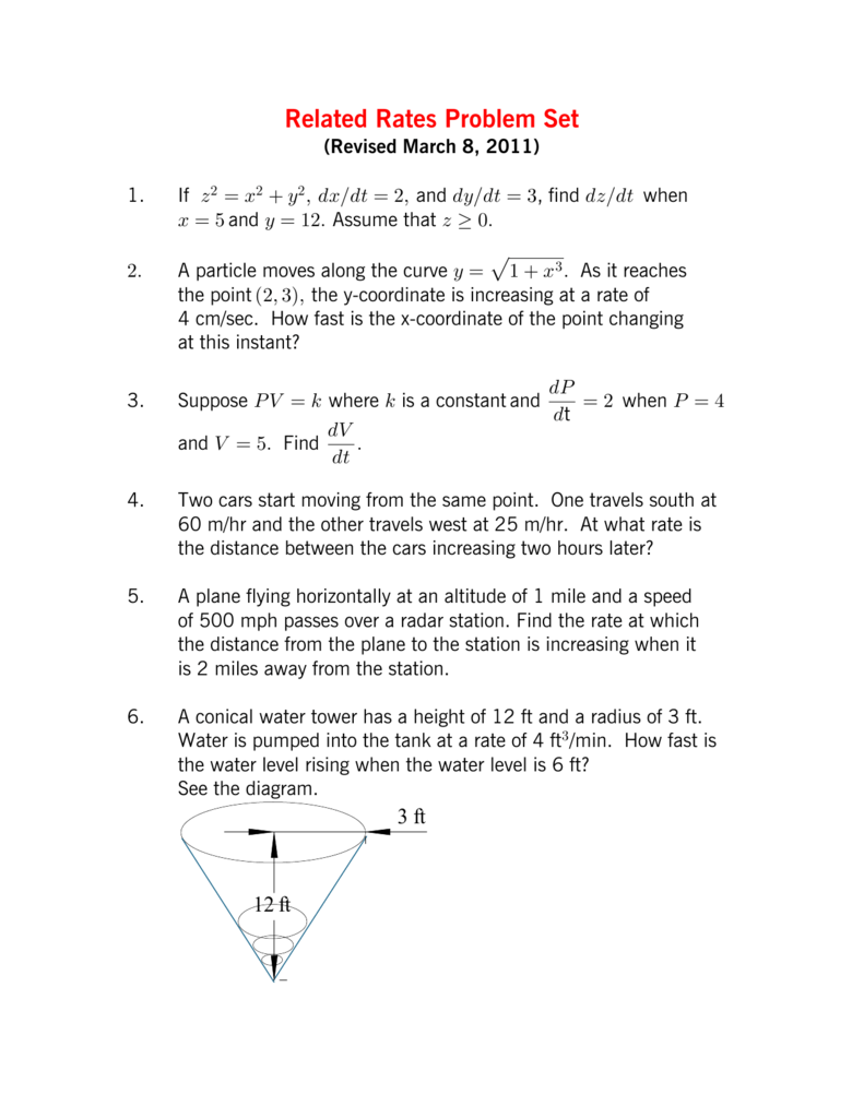 Worksheets Related Rates Worksheet related rates problem set