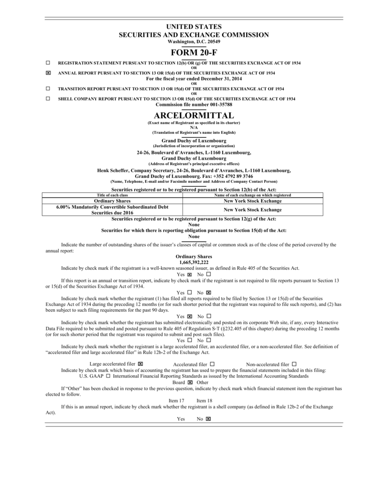 Form 20f arcelormittal buycottarizona