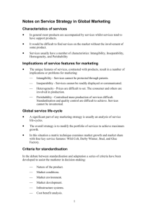 Notes on Service Strategy in Global Marketing