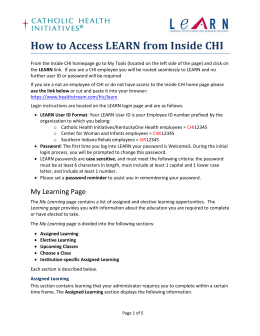 How to Access LEARN from Inside CHI