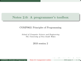 Notes 2.0: A programmer's toolbox