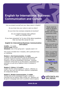 English for International Business: Communication and Culture