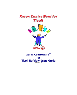Xerox CentreWare™ for Tivoli NetView Users Guide