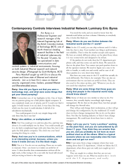 Contemporary Controls Interviews Industrial Network Luminary Eric