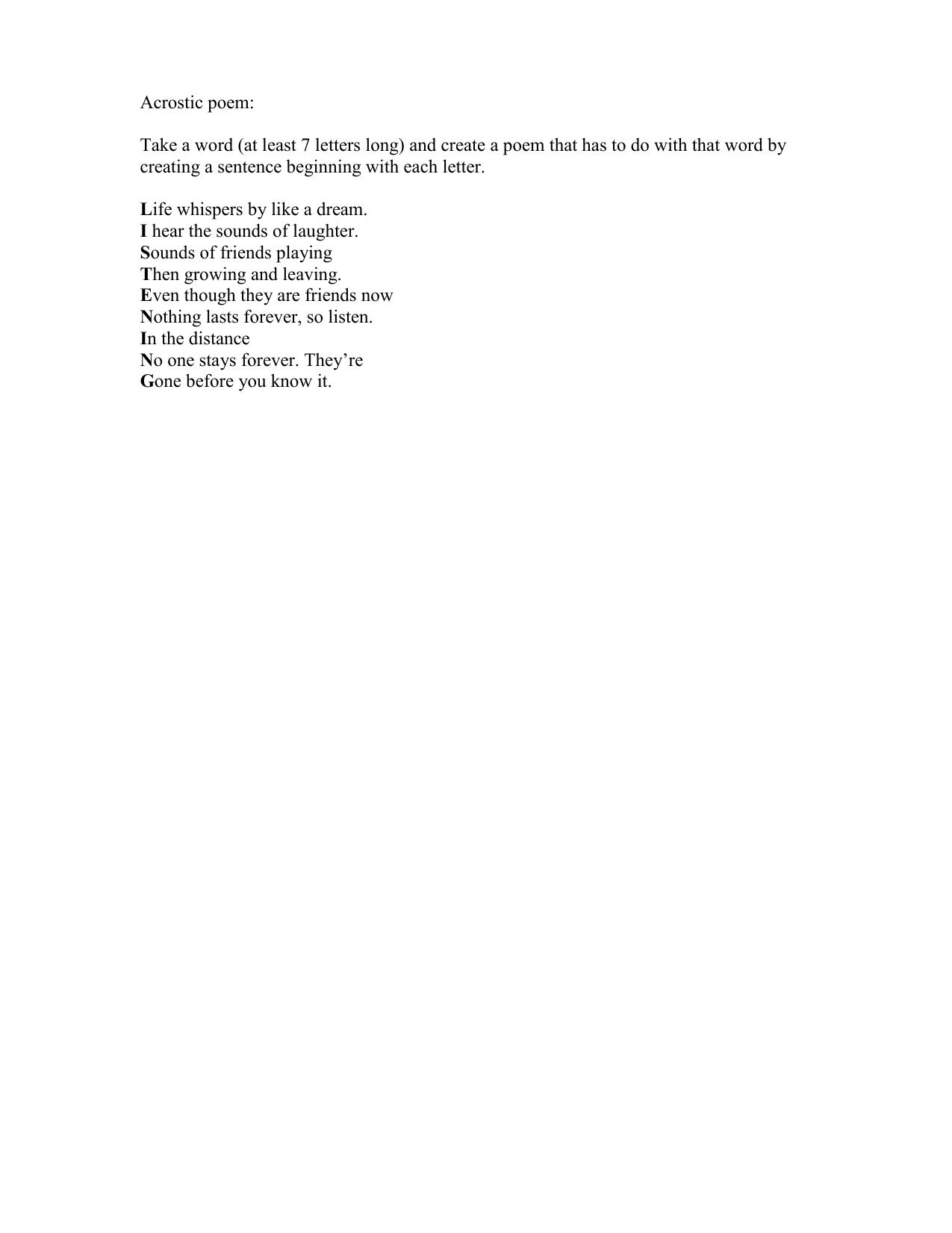 Acrostic poem - Peabody Elementary School