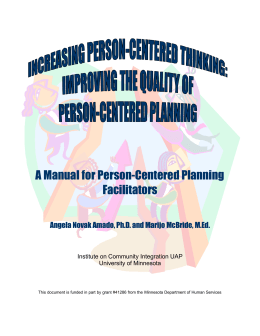 A Manual for Person-Centered Planning Facilitators