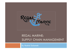 regal marine: supply chain management