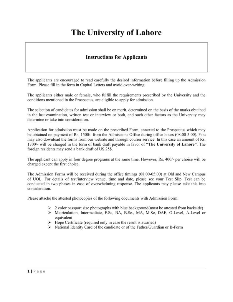 Admission instructions english yelopaper Choice Image