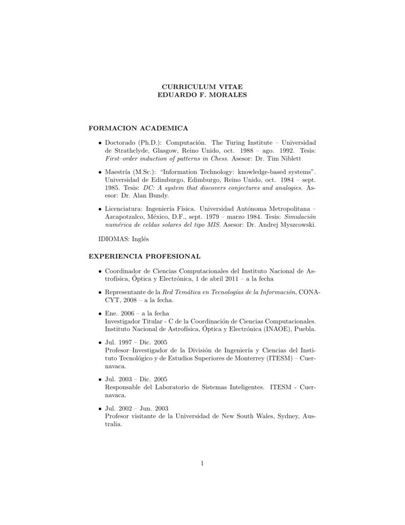 Curriculum Vitae Eduardo F Morales Formacion