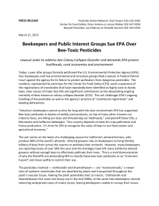 Beekeepers and Public Interest Groups Sue EPA Over Bee