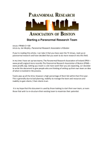 Starting a Paranormal Research Team