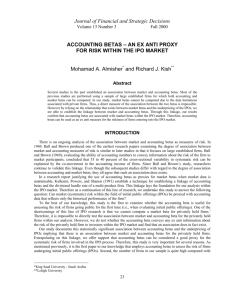 accounting betas - an ex anti proxy for risk within the